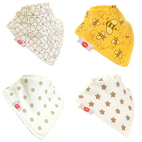 Zippy Fun Baby Bandana Bib - Absorbent 100%cotton Front Drool Bibs with Adjustable Snaps(4 Pack Gift Set)Unisex Stylish Cream