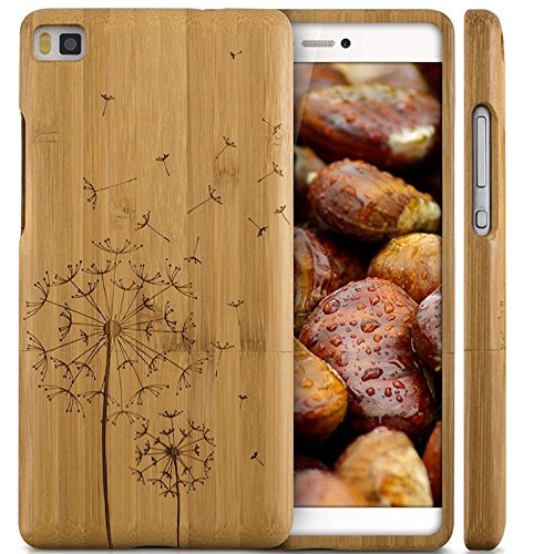 Semoss Hand-made Dandelion Design Natural Wood Bamboo Case Cover for Huawei P8 Lite Eco-Friendly Protective Bumper Hard Back Shell Case Skin Cover