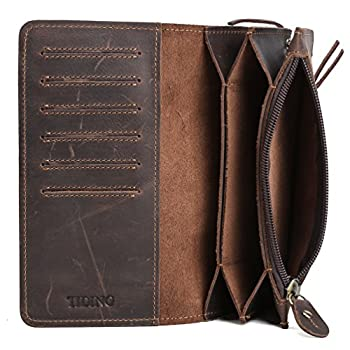 Tiding Men's Brown Crazy Horse Leather Wallet Vintage Style Card Holder Bifold 33777