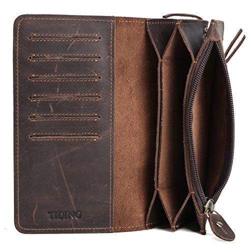 Tiding Men's Brown Crazy Horse Leather Wallet Vintage Style Card Holder Bifold 33777 2