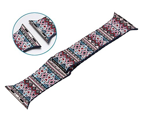 Happy Hours® Unique Ancient Tribe Style Colorful Painting Leather Strap Replacement Wrist Band For Apple Watch Iwatch 38MM Built-in Metal Magnetic Adapter Connector, Style 1
