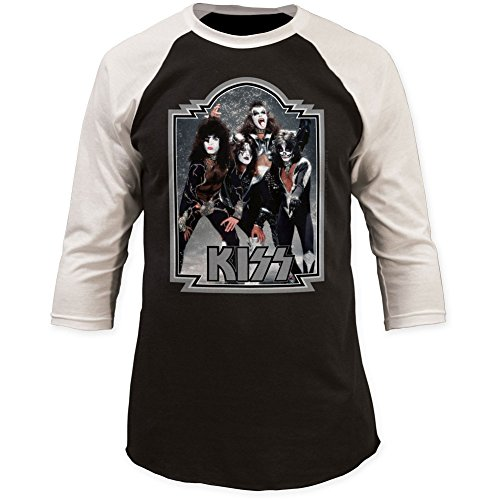 Kiss-KISS-Glitter-Hombres-76-Baseball-Jersey-Small-BlackWhite