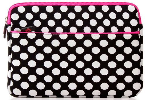Feeble, Neoprene Sleeve Travel Bag for 10.1 Acer Iconia Tab A500 Tegra Memo pad - Polkadots - black / white / pink [12297]. Reward Ekatomi Screen Cleaner Sticker