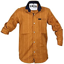 CAY 100% Cotton Brown Color Designer Striped Shirt