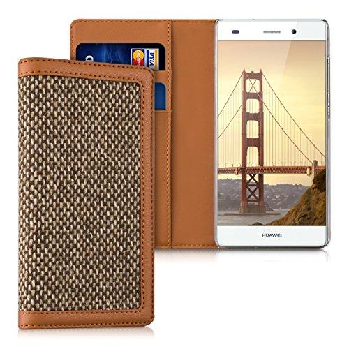 kalibri-Wallet-Case-Hlle-Donna-fr-Huawei-P8-Lite-Cover-Flip-Tweed-Kunstleder-Tasche-mit-Kartenfach-in-Braun