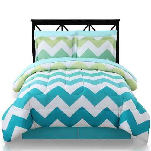 Light Green Yellow Turquoise Chevron Twin Xl Comforter, Skirt And Sheet Bedding Set (6 Piece Bed In A Bag)