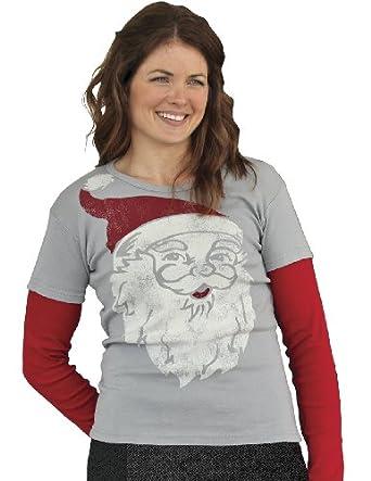 Santa Claus Face Long Sleeve Layered Look Medium Gray T-Shirt