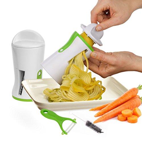 Nouveau design de Coupe Légumes en lamelles, OVOS Tranchez vos légumes facilement, ustensile facile et sûr d'utilisation en acier inoxydable, lames, épluche-légumes et brosse inclus !