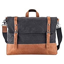 [2016 UPGRADE] Canvas and Leather Messenger Bag RUFFRYDER 16.3 inch Genuine Crazy-horse Leather Briefcase Travel Duffle Canvas Cross Body Fit 15 17 Inch Laptop