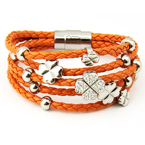 Bamoer Christmas New Arrival Bracelets Promotion!! 2014 Fashion Multiple Colors Aaa Diamond Leather Wrap Bracelet With Four Leaf Clover Flower Unisex Lovers Crystal Bangles For Him Or Her Stainless Steel Jewelry Gift For Christmas (Orange)