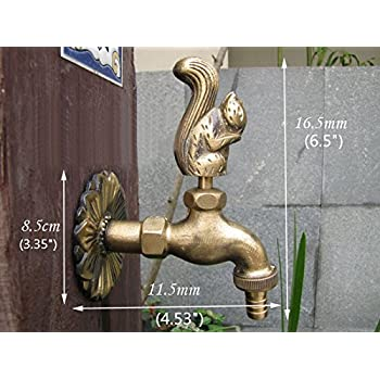 "Greenspring Squirrel Decorative Antique Brass Garden Outdoor Faucet - With a Set of Brass Quick Connecter for 1/2"" Inches Hose"