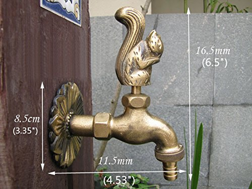 Greenspring Squirrel Decorative Antique Brass Garden Outdoor Faucet - With a Set of Brass Quick Connecter for 1/2