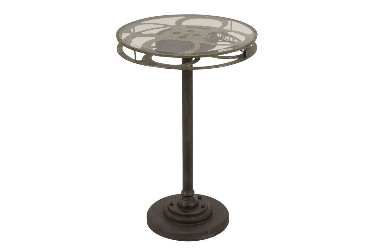 Deco 79 Metal Glass Accent Table, Designed as a Movie Reel, Green