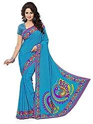 Design Willa Smooth feel Art crepe Sari (DWPC050,Blue)