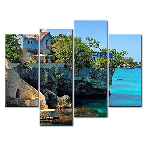 So Crazy Art Blue 4 Panel Wall Art Painting Coastal House In Negril Jamaica Cliffs Prints On Canvas The Picture Seascape Pictures Oil For Home Modern Decoration Print Decor For Office Walls (Cliff House Poster compare prices)