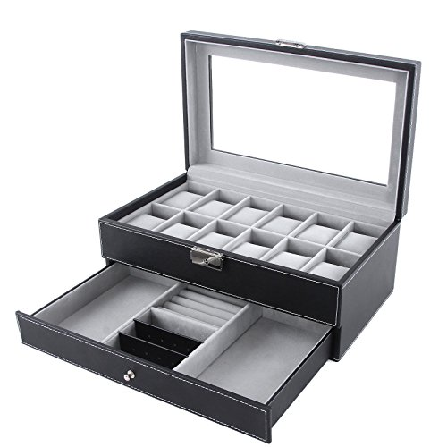 Songmics Leather 12 Mens Watch Box with Jewelry Display Drawer Lockable Watch Case Organizer UJWB012