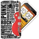 HTC One X H�lle TPU / Gel / Silikon Case Cover - Gitarre Schutzh�lle f�r HTC One X - Wei� und Rot, Schwarz
