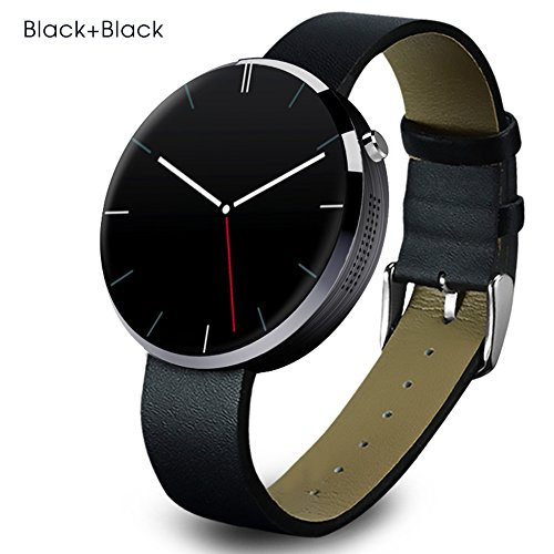 Buyee Dm 360 Waterproof Bluetooth Smart Watch Finger Gestures Voice Control Pedometer Smart Fitness Coach & Tracker Smartwatch for for IOS Apple Iphone 4/4s/5/5c/5s/6/6s Android Samsung S6/s6 Edge/s4/s5/note3/note 4 HTC (Jazz Black)