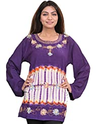 Exotic India Petunia-Purple Kurti With Batik Print And Thread Work - Purple