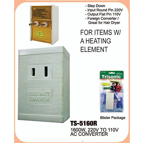 International Voltage Converter 220V to 110V 1600 Watt. Use US appliances overseas