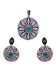 Emerald & Cubic Zircon Stone Studded Pendant & Earring Set With Enamel Work