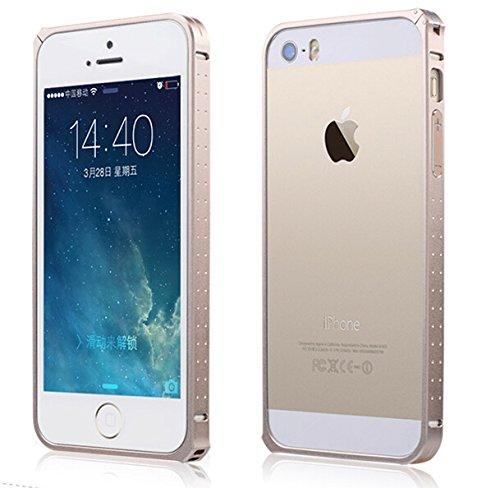 【ShineZone】全4色 オリジナルiPhone SE 専用ケース アルミバンパー 保護力 個性 軽量 高品質バンパー カバー 取付け簡単(ゴールド)
