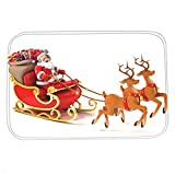 Dearhouse Flannel Santa Merry Christmas Elk Holiday Greeting Gifts Bathroom Rugs Mat Xmas Decorations Bedroom Floor Carpet Doormat 18-Inch by 30-Inch
