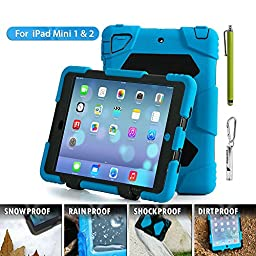 Ipad Case,Ipad Mini 2 Case,Ipad Mini 3 Case,ACEGUARDER? ipad mini case Case for kids Rainproof Shockproof Anti-Dirt Drop Resistance Case(blue-black)