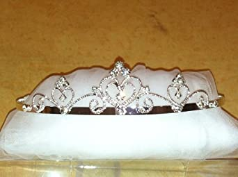 (Ship From USA) White 2 Tier Ribbon Bow Pearl Crystal Tiara Wedding Flower Girl Veil Holy First Communion (Double Heart)