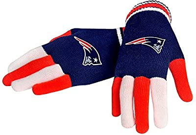 NFL New England Patriots Knit Gloves, Blue, One Size
