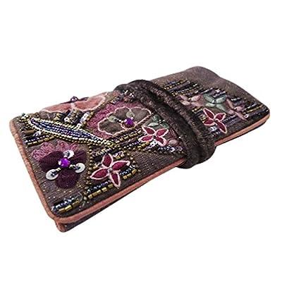 faits à la main des bijoux en perles rouleau coton matériau accessoires de toile femmes violet petit sac décoratif étui de rangement mariage ethnique article de cadeau