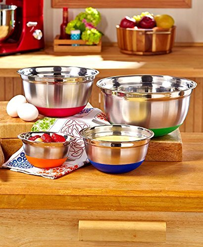 Set of 4 Jumbo Stainless Steel Nesting Bowl Mixing Prepping Kitchen Bowl Colorful Non Skid Bottom Container (Chefs Stoneware Canisters compare prices)