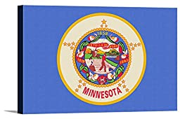 Minnesota State Flag - Letterpress (36x24 Gallery Wrapped Stretched Canvas)