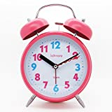 "JCC 4"" Twin bell Quartz Analog Silent non ticking sweep second hand bedside alarm clock with Nightlight and Loud Alarm (Pink)"