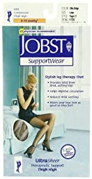 JOBST SupportWear, UltraSheer, Therapeutic Support. Thigh High,  Large, Silky Beige