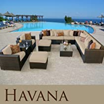Hot Sale HAVANA OUTDOOR WICKER PATIO 11 PIECE SET SAND