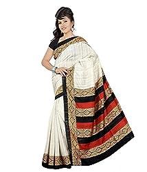 Kabeer Creation Beige Art Silk Printed Saree