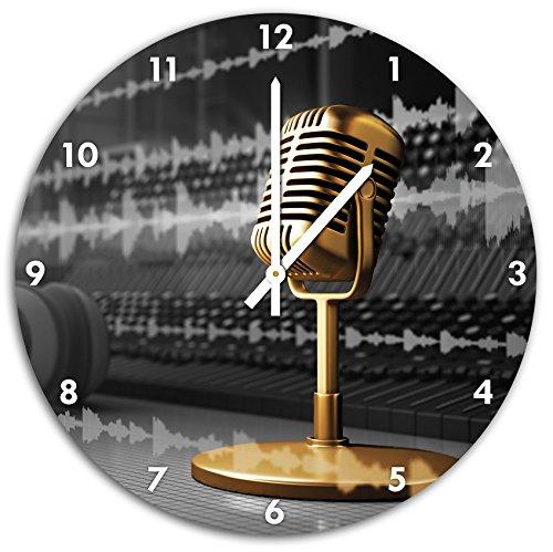 Cooles-Musikstudio-schwarzwei-Wanduhr-mit-spitzen-Zeigern-und-Ziffernblatt-Dekoartikel-Designuhr-Aluverbund-sehr-schn-fr-Wohnzimmer-Kinderzimmer-Arbeitszimmer
