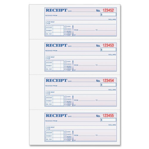 Adams Money and Rent Receipt Book, Tape Bound, 3-Part, Carbonless, 7.63 x 11 Inch, 100 Sets, White and Canary and Pink (TC1182)