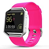Fitbit Blaze Accessories Classic Band Large, UMTele Soft Silicone Replacement Sport Strap Band with Quick Release Pins for Fitbit Blaze Smart Fitness Watch Neon Pink, Frame Not Included (6.7
