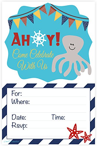 Nautical Baby Shower or Birthday Party Invitations - Fill In Style (20 Count) With Envelopes - 1