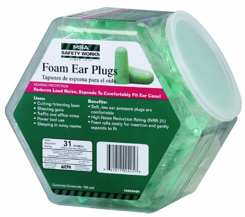 MSA Safety Works 10059484 Expandable Foam Ear Plugs in Counter Display, 100-Pair (Ear Plugs Work compare prices)