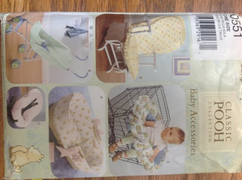 Simplicity 0551 Sewing Pattern for Classic Pooh Collection Baby Accessories Rocking Chair Pads Basket Insert, Umbrella Stroller Cover, Car Seat Cover, Glider Chair Cover, Shopping Cart Seat Cover (Simplicity Insert Pads compare prices)