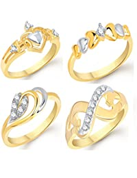 VK Jewels Gold And Rhodium Plated Alloy Ring Combo Set For Women & Girls- COMBO1419G [VKCOMBO1419G]