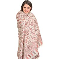 Exotic India Reversible Jamawar Shawl from Amritsar with Woven Flowers - Color MoonbeamColor Free Size