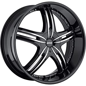 MKW M105 24 Black Wheel / Rim 5×4.5 & 5×120 with a 35mm Offset and a 74.10 Hub Bore. Partnumber M105-2495001435B