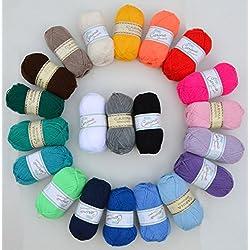 Paquete de 20 x 50 G de lana multicolor