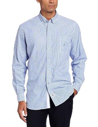 (大降)Nautica诺帝卡男士纯棉长袖休闲衬衣Poplin Bengal Stripe Woven两色折后$31.68