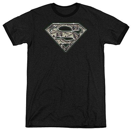 Superman All About The Benjamins Mens Adult Heather Ringer Shirt Black Md