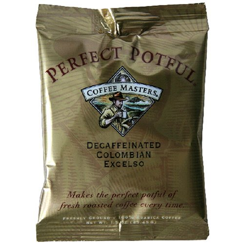 Coffee Masters Perfect Potful Columbian 100 Percent Decaffeinated Ground Coffee, 1.5-Ounce Packets (Pack of 12)
